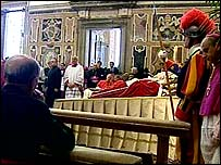 The Pope's body lies in state in the Vatican