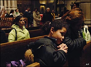 Catholics all over the world were also touched. New Yorkers went to their local churches to mourn their loss.