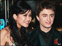 Daniel with his co-star Katie Leung