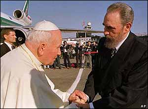 The Pope with Cuban leader Fidel Castro.