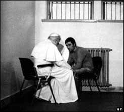The Pope meeting Turkish gunman Mehmet Ali Agca