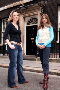 Ellie and Laura outside 10 Downing Street