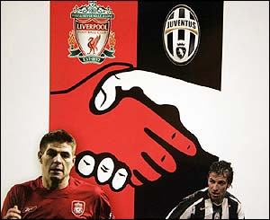 Part of the programme for the Champions League quarter-final between Liverpool and Juventus