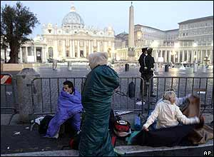 Pilgrims wake in St Peter's Square