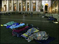 People sleeping in St Peter's Square in Rome