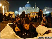 People camping outside the Basilica