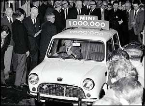 February 1965: Mini designer Alec Issigonis drives the 1,000,000th Mini off the production line at Longbridge