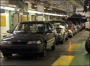 Rover car production line at Longbridge in 1993