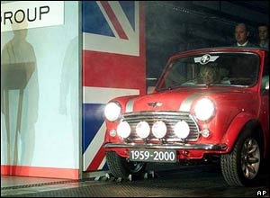 The last British Mini rolls off the production line at Longbridge, driven by Lulu