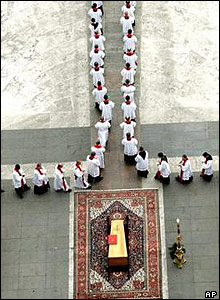 The coffin of Pope John Paul II