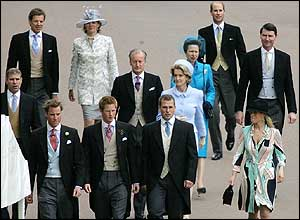The rest of the royal party make the short journey on foot