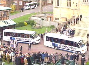 Then the wedding guests were driven in royal coaches to the reception taking place in another part of Windsor Castle