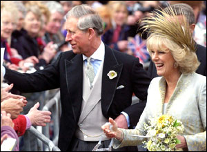 Prince Charles and Camilla with crowds