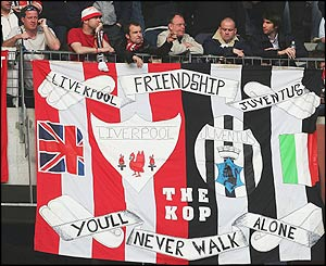 Liverpool fans show a friendship banner