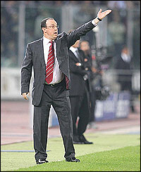Liverpoo manager Rafael Benitez makes his presence felt