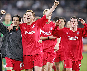 Luis Garcia, John Arne Riise, Sami Hyypia and Jamie Carragher celebrate sealing a semi-final spot as Liverpool win 2-1 on aggregate