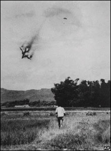 US warplane being shot down