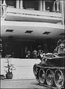Entering the Presidential Palace in Saigon at the end of the war