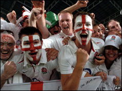 Fans with painted England faces