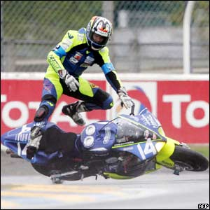 Czech Jiri Drazdak comes off his motorbike in Le Mans