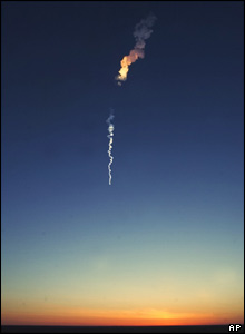 A smoke trail from the Russian Soyuz booster rocket