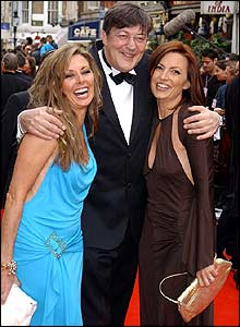 Stephen Fry with Carol Vorderman (left) and Davina McCall