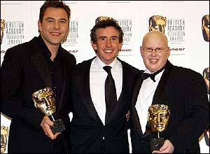 Steve Coogan (centre) with Little Britain stars David Walliams (left) and Matt Lucas
