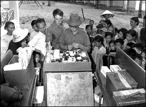 Medical aid provided by the Australian Army to a village in Vietnam