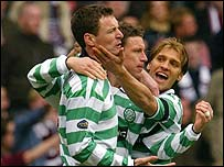 Celtic's Chris Sutton, Alan Thompson and Stilian Petrov