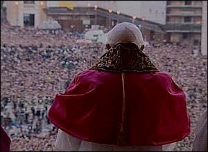 The new pope on the balcony of St Peter's Basilica