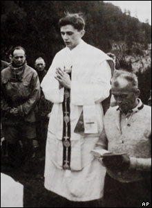Joseph Ratzinger leads an outdoor mass in Switzerland in the summer of 1952