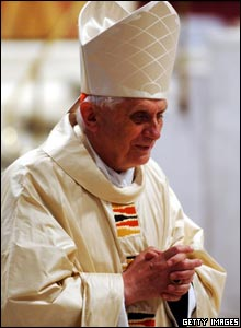 German Cardinal Joseph Ratzinger attends a mass in St Peter's Basilica a few days before he is elected Pope.