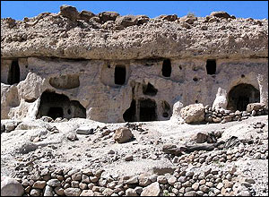 Houses carved into the rock in Maymand, Iran