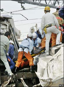 Rescuers at work