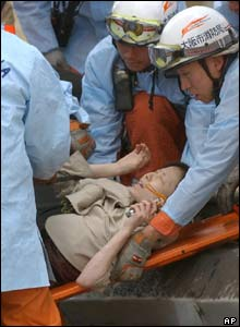 Injured woman on stretcher