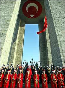 Turkey's traditional Mehter army band at Gallipoli's Turkish memorial