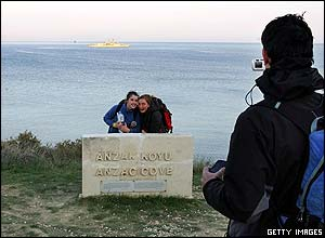 Tourists pose for photo at Anzac Cove