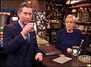 The Prince of Wales enjoys a scotch with Coronation Street landlady Natalie Barnes, played by Denise Welch in the Rovers Return pub