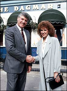 Peter Purves with Angie Watts (Anita Dobson) in EastEnders.