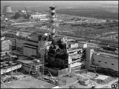 Chernobyl site soon after the accident