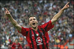 Andriy Shevchenko celebrates scoring for AC Milan