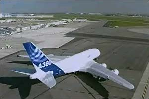 A380 on the runway, soon before takeoff