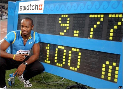 Jamaican sprinter Asafa Powell broke the men's 100m world record - running it in 9.77 seconds.