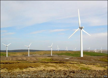 The largest wind farm in Britain spun into action in west Wales - with 39 turbines supplying 42,000 homes with power.