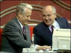 Boris Yeltsin and Mikhail Gorbachev