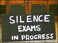 'Silence. Exams in Progress' via BBC.