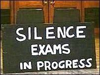 'Silence. Exams in Progress' via BBC.