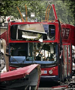 This bus, the number 30 in Tavistock Square, London, was hit by one of four terrorist explosions on July 7, which killed 52 people, injured 700 and brought chaos to London.