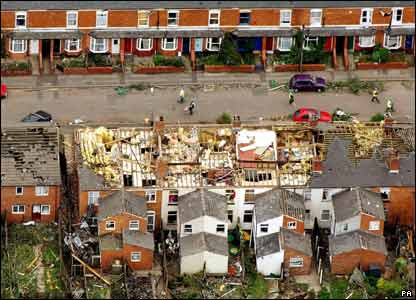 This was the scene from the air when a tornado hit Sparkbrook in Birmingham - with winds of up to 130mph!