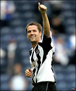 Football star Michael Owen returned to the Premiership to play for Newcastle Utd from Real Madrid - with a transfer fee thought to have been about £17m. No wonder he's smiling!